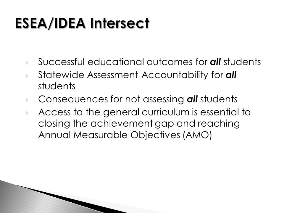  Successful educational outcomes for all students  Statewide Assessment Accountability for all students  Consequences for not assessing all students  Access to the general curriculum is essential to closing the achievement gap and reaching Annual Measurable Objectives (AMO)