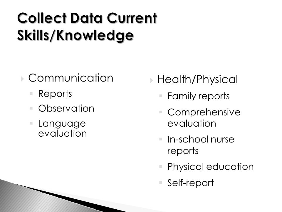  Communication  Reports  Observation  Language evaluation  Health/Physical  Family reports  Comprehensive evaluation  In-school nurse reports  Physical education  Self-report
