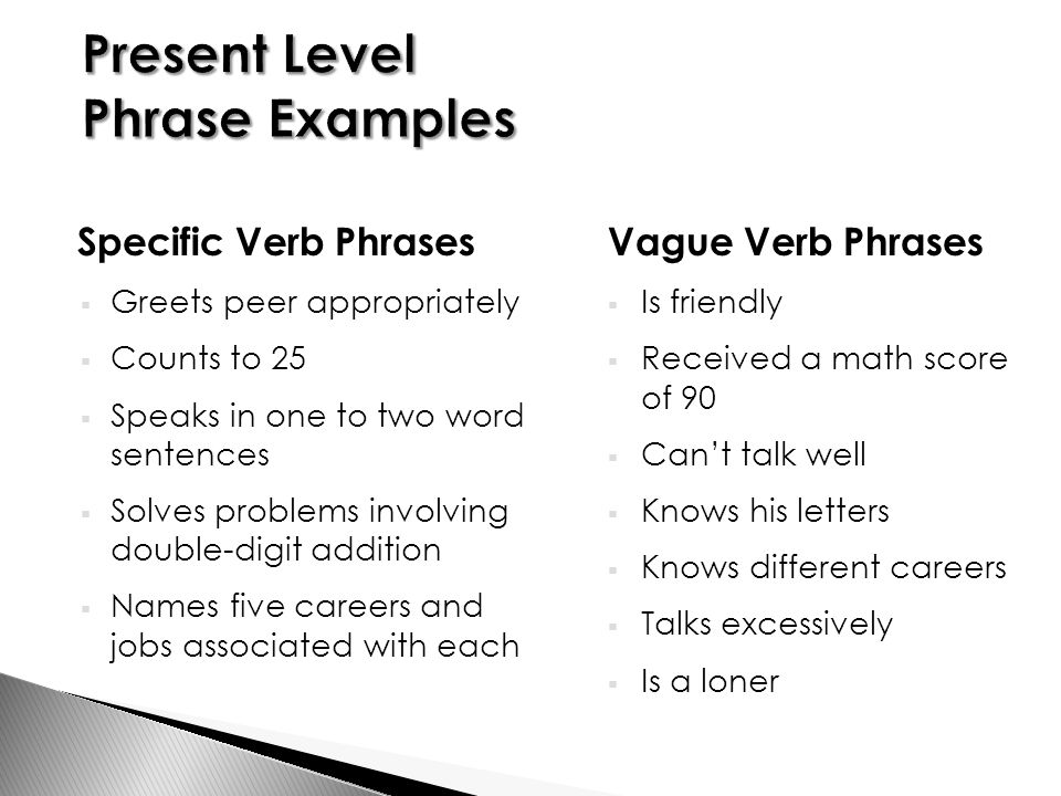 Specific Verb Phrases  Greets peer appropriately  Counts to 25  Speaks in one to two word sentences  Solves problems involving double-digit addition  Names five careers and jobs associated with each Vague Verb Phrases  Is friendly  Received a math score of 90  Can't talk well  Knows his letters  Knows different careers  Talks excessively  Is a loner