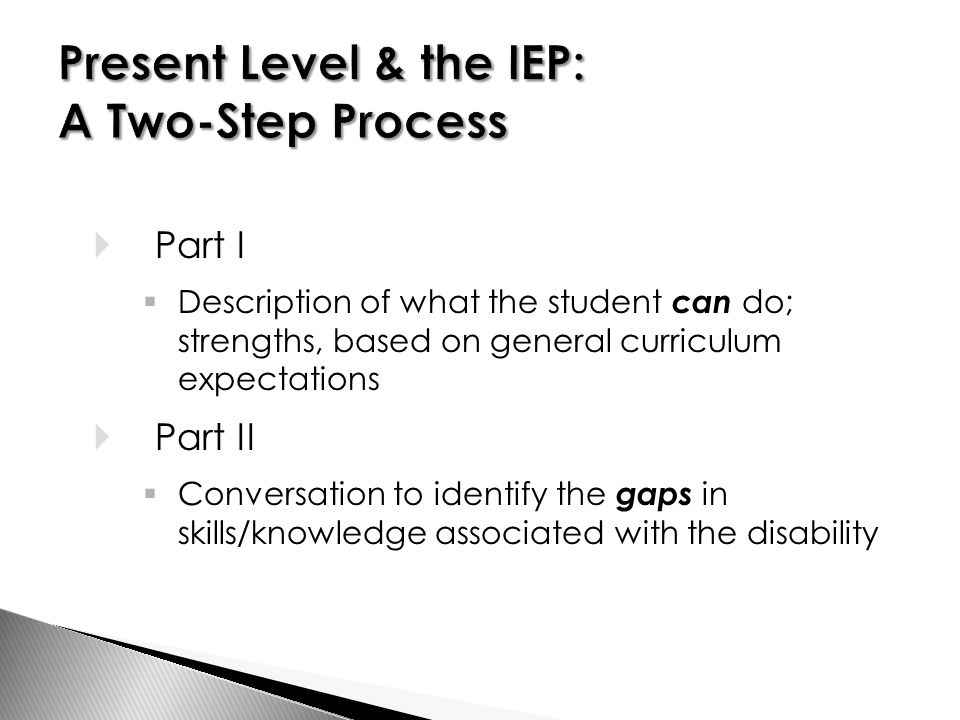  Part I  Description of what the student can do; strengths, based on general curriculum expectations  Part II  Conversation to identify the gaps in skills/knowledge associated with the disability