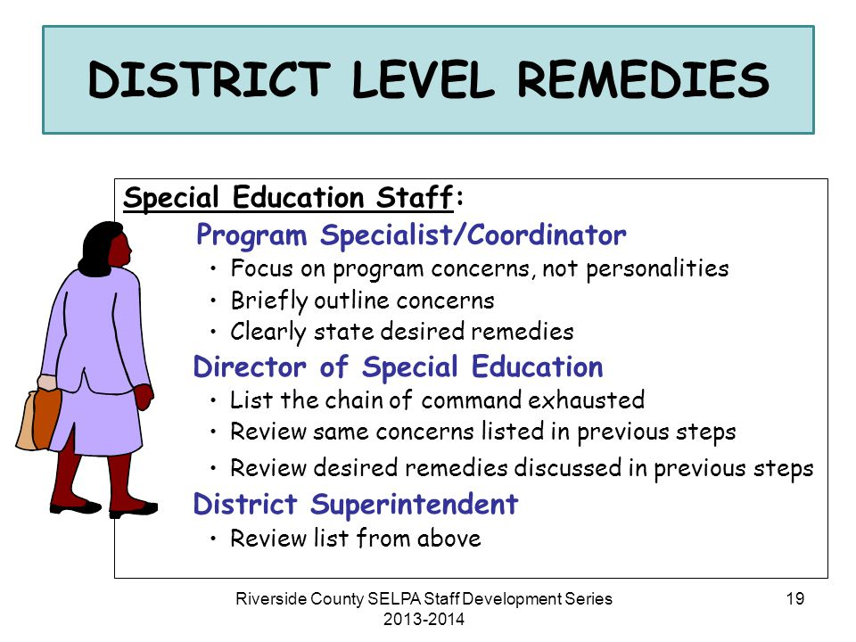 DISTRICT LEVEL REMEDIES Special Education Staff: Program Specialist/Coordinator Focus on program concerns, not personalities Briefly outline concerns