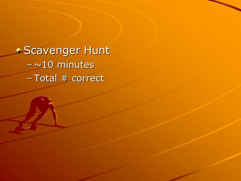 Scavenger Hunt –~10 minutes –Total # correct