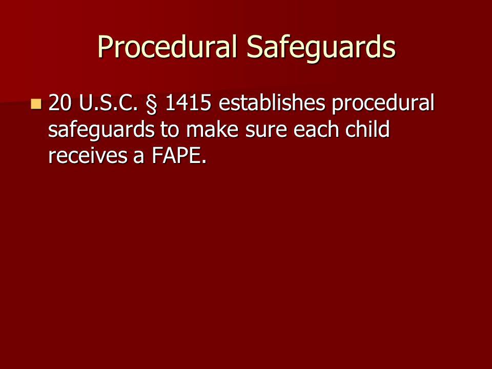 Procedural Safeguards 20 U.S.C.