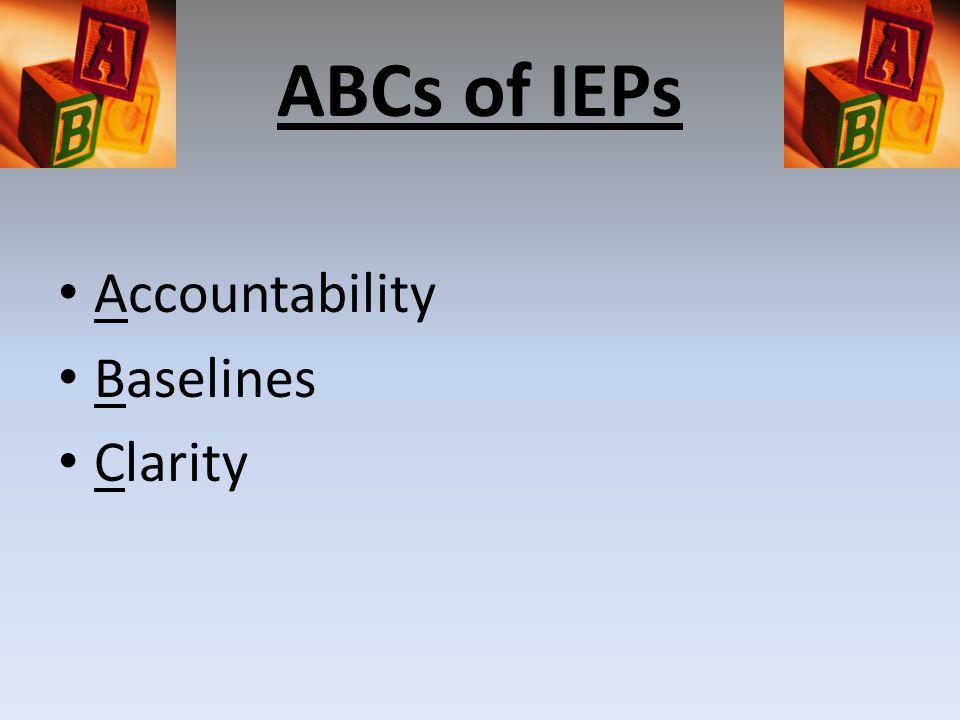 ABCs of IEPs Accountability Baselines Clarity
