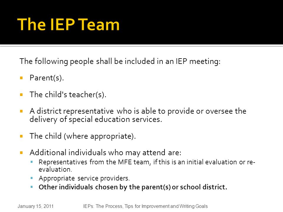 The following people shall be included in an IEP meeting:  Parent(s).