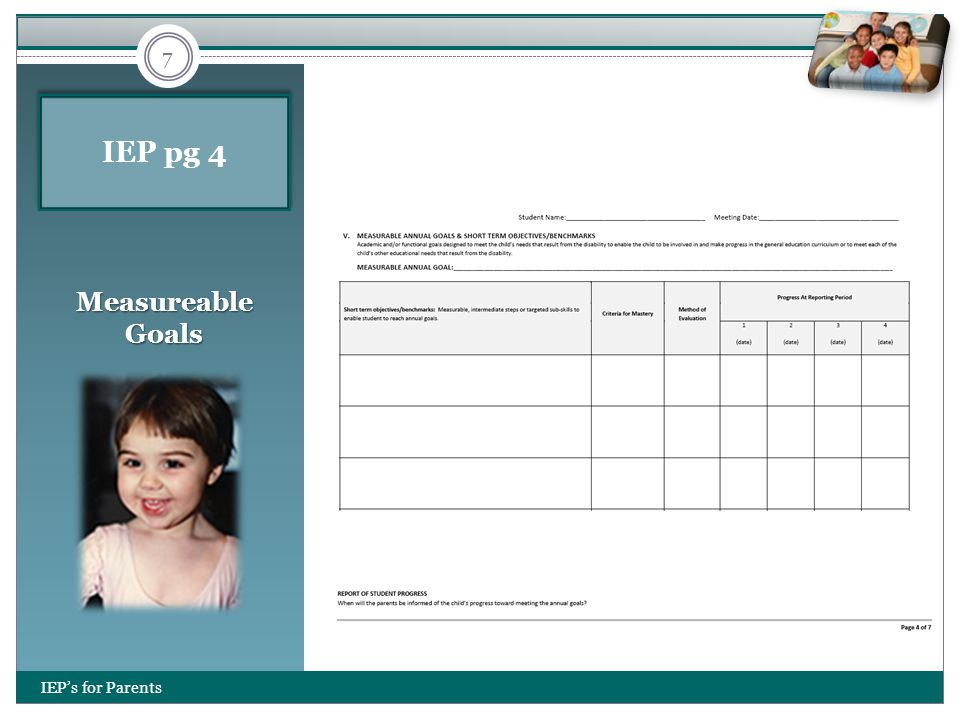IEP pg 4 Measureable Goals IEP's for Parents 7