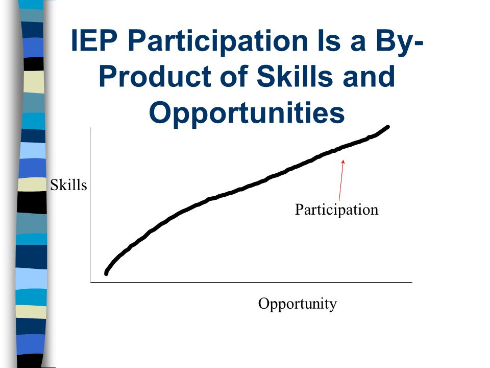 IEP Participation Is a By- Product of Skills and Opportunities Skills Opportunity Participation