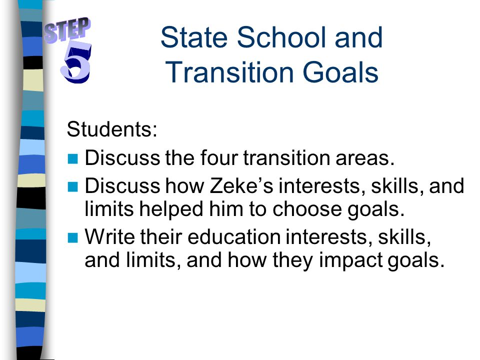 State School and Transition Goals Students: Discuss the four transition areas.