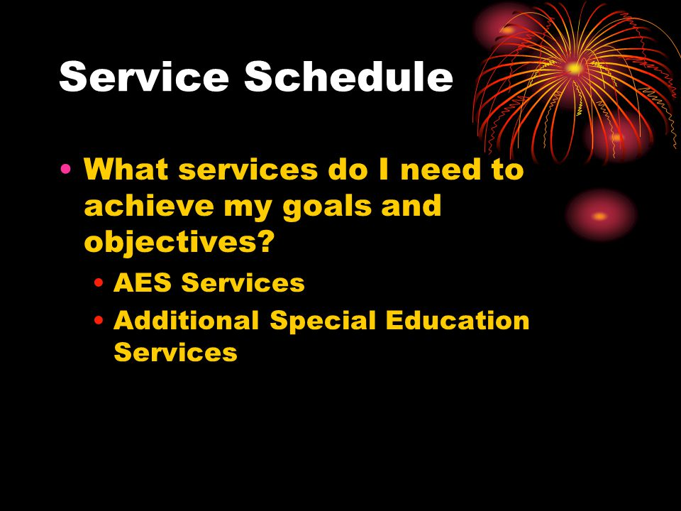 Service Schedule What services do I need to achieve my goals and objectives.