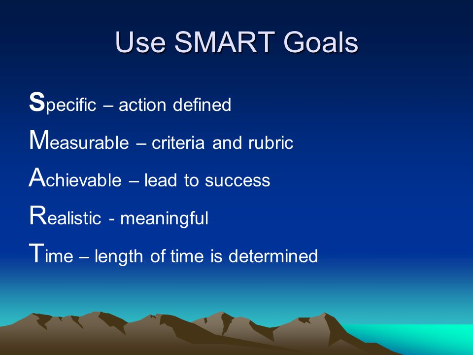 Use SMART Goals S pecific – action defined M easurable – criteria and rubric A chievable – lead to success R ealistic - meaningful T ime – length of time is determined