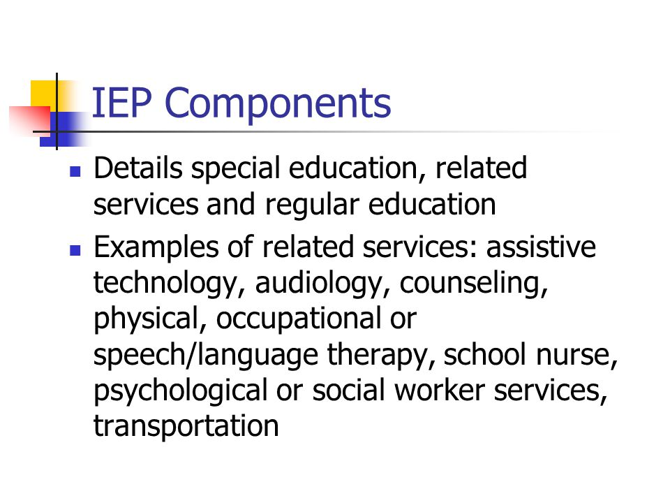 IEP Components Details special education, related services and regular education Examples of related services: assistive technology, audiology, counse