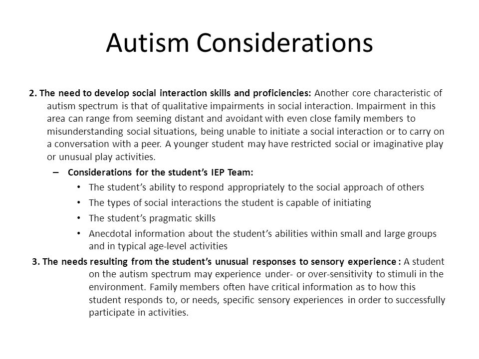 Autism Considerations 2.