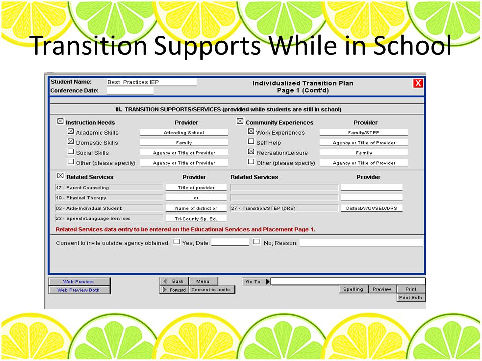Transition Supports While in School