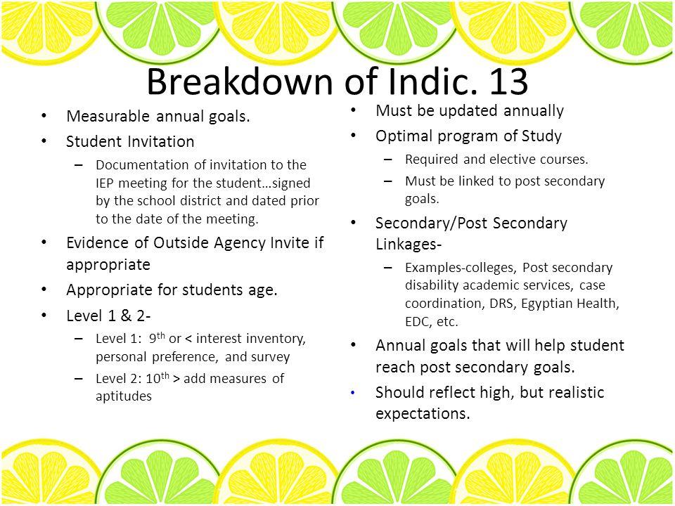 Breakdown of Indic. 13 Measurable annual goals.