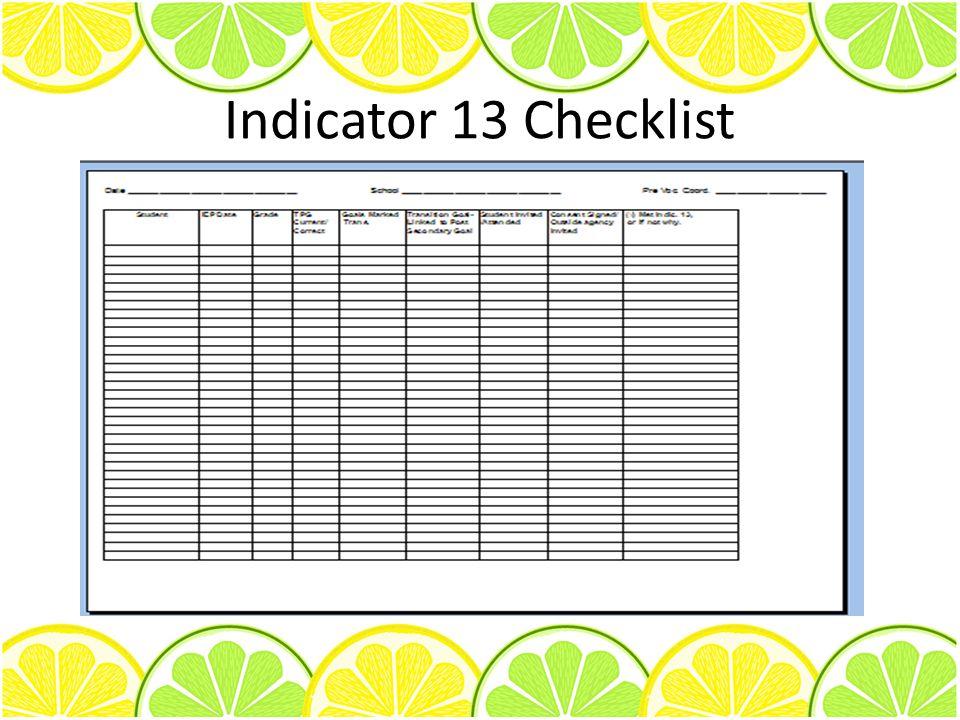 Indicator 13 Checklist