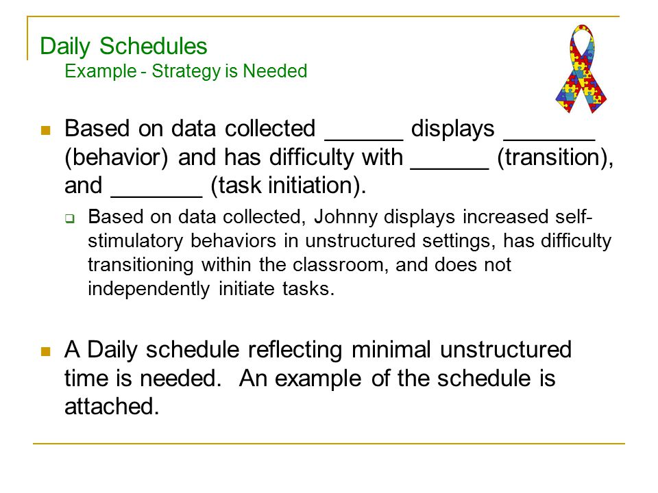 Daily Schedules Example - Strategy is Needed Based on data collected ______ displays _______ (behavior) and has difficulty with ______ (transition), and _______ (task initiation).