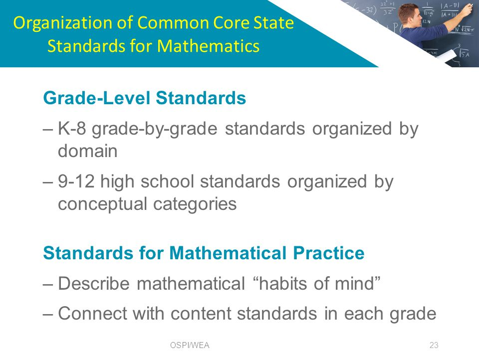 Organization of Common Core State Standards for Mathematics 23 Grade-Level Standards –K-8 grade-by-grade standards organized by domain –9-12 high school standards organized by conceptual categories Standards for Mathematical Practice –Describe mathematical habits of mind –Connect with content standards in each grade OSPI/WEA