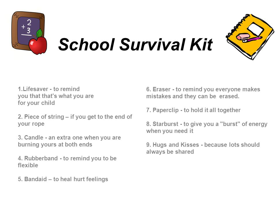 School Survival Kit 6. Eraser - to remind you everyone makes mistakes and they can be erased.