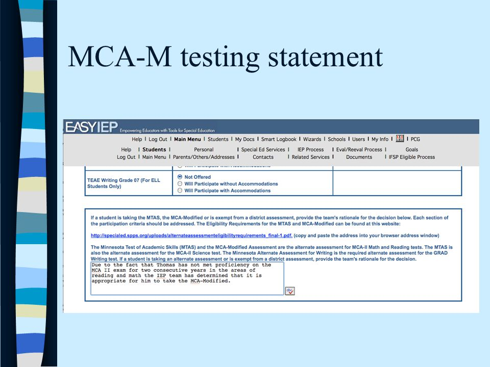 MCA-M testing statement
