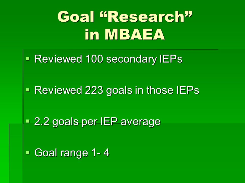 Types of Goals  57 – Reading  43 – Writing  34 – Math 62% of all goal were related to reading, writing, and math.