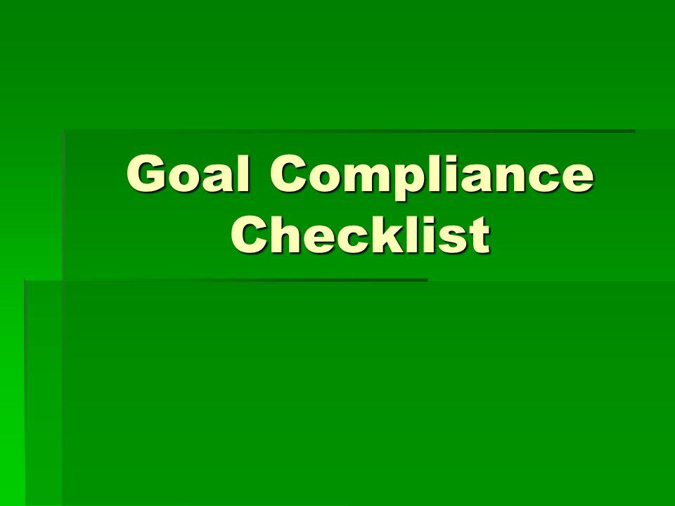 Goal Compliance Checklist