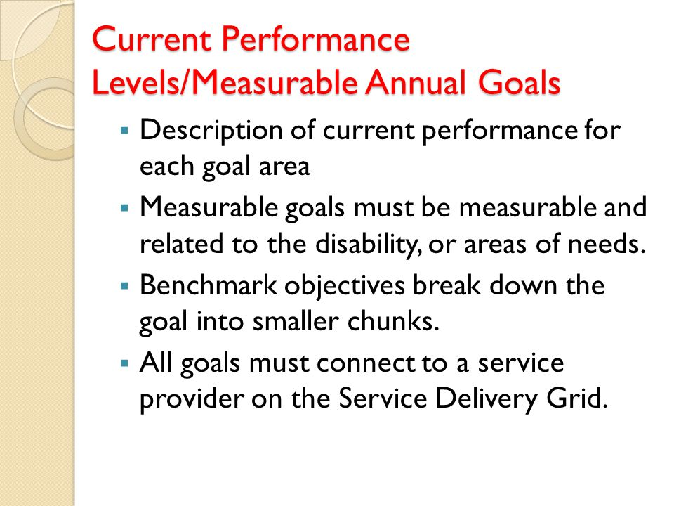 Current Performance Levels/Measurable Annual Goals  Description of current performance for each goal area  Measurable goals must be measurable and r