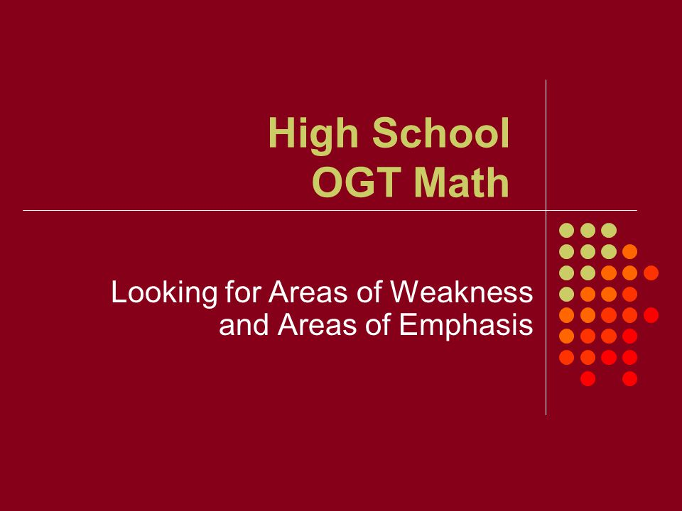 High School OGT Math Looking for Areas of Weakness and Areas of Emphasis