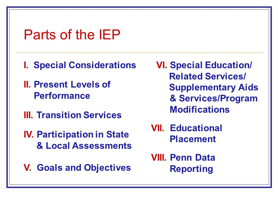 I. Special Considerations II. Present Levels of Performance III. Transition Services IV. Participation in State & Local Assessments V. Goals and Objec