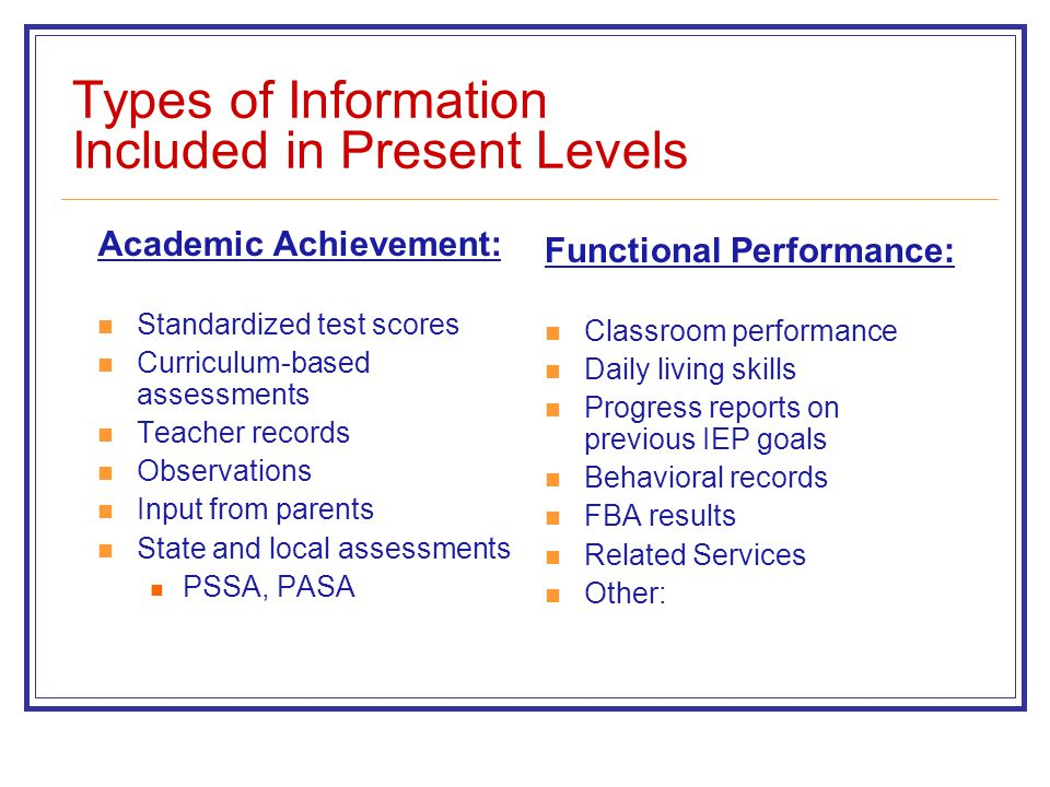 Types of Information Included in Present Levels Academic Achievement: Standardized test scores Curriculum-based assessments Teacher records Observatio