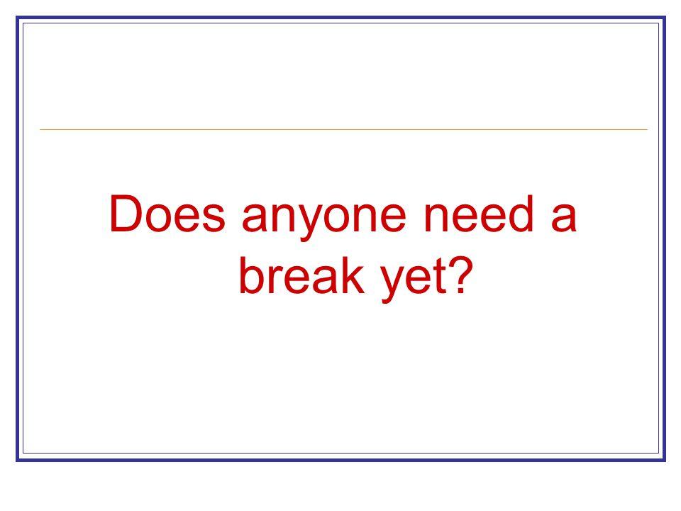 Does anyone need a break yet