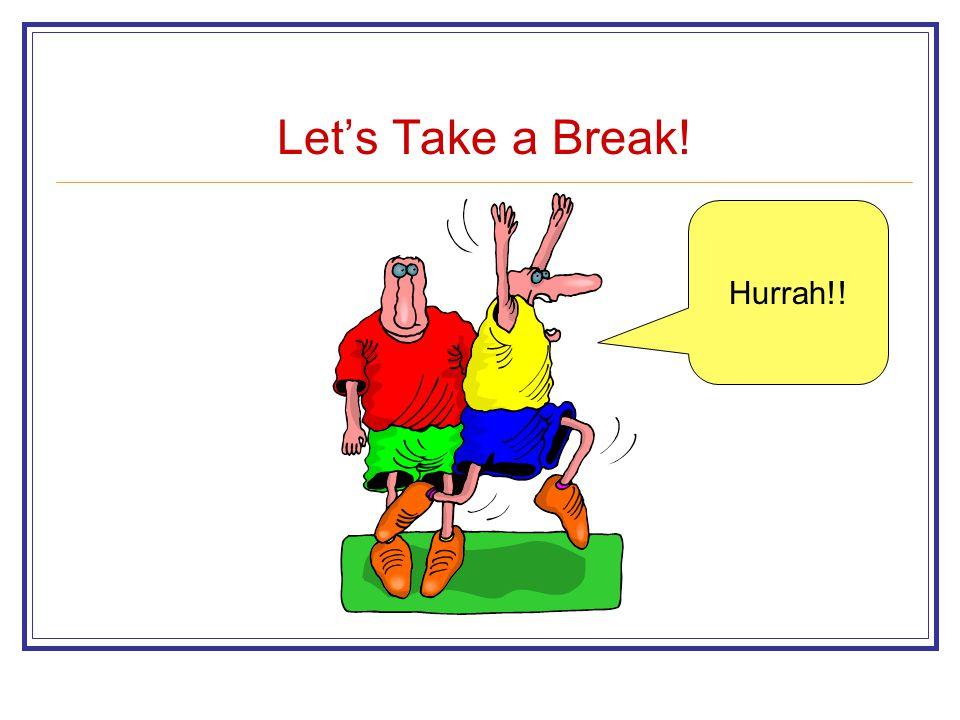 Let's Take a Break! Hurrah!!