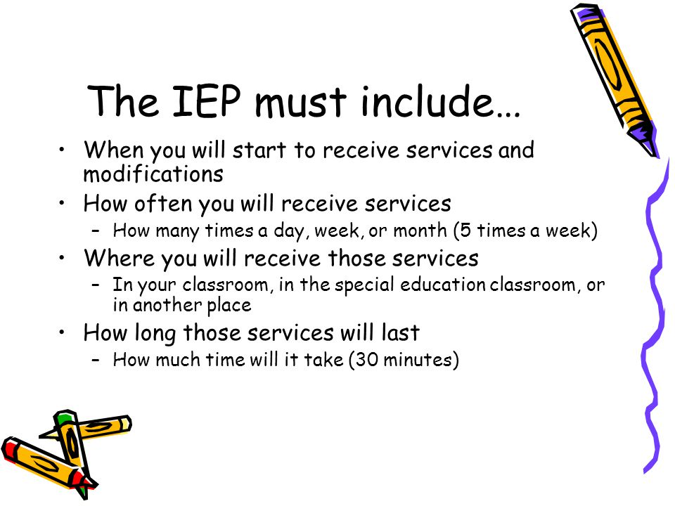 The IEP must include… When you will start to receive services and modifications How often you will receive services –How many times a day, week, or month (5 times a week) Where you will receive those services –In your classroom, in the special education classroom, or in another place How long those services will last –How much time will it take (30 minutes)
