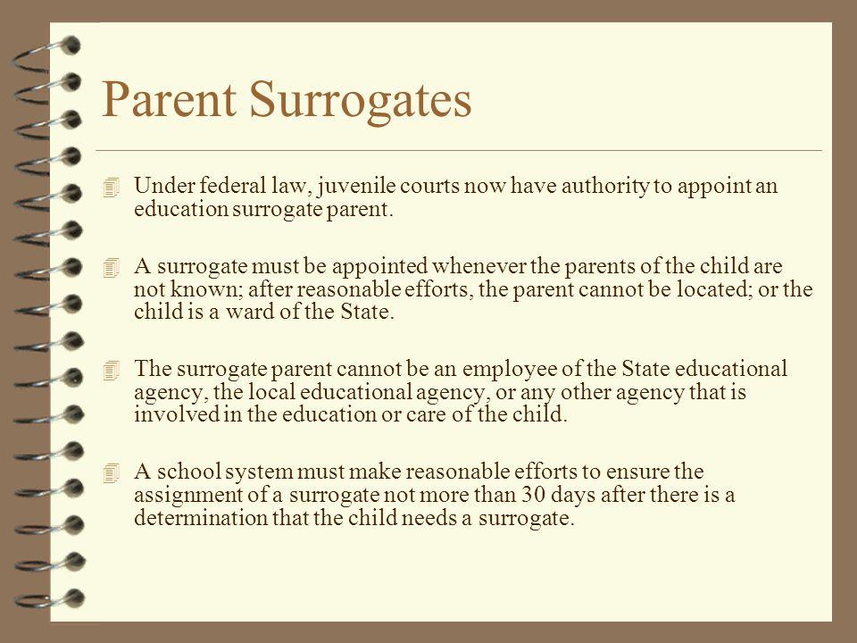 Parent Surrogates 4 Under federal law, juvenile courts now have authority to appoint an education surrogate parent. 4 A surrogate must be appointed wh