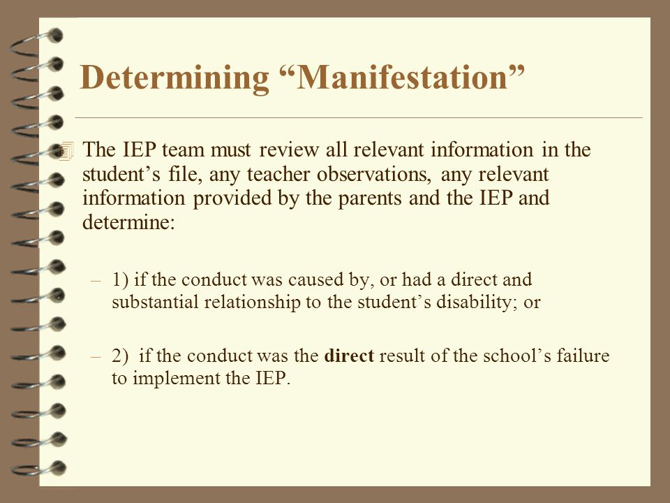 """Determining """"Manifestation"""" 4 The IEP team must review all relevant information in the student's file, any teacher observations, any relevant informat"""