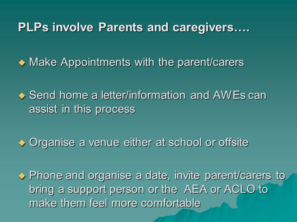 PLPs involve Parents and caregivers….  Make Appointments with the parent/carers  Send home a letter/information and AWEs can assist in this process