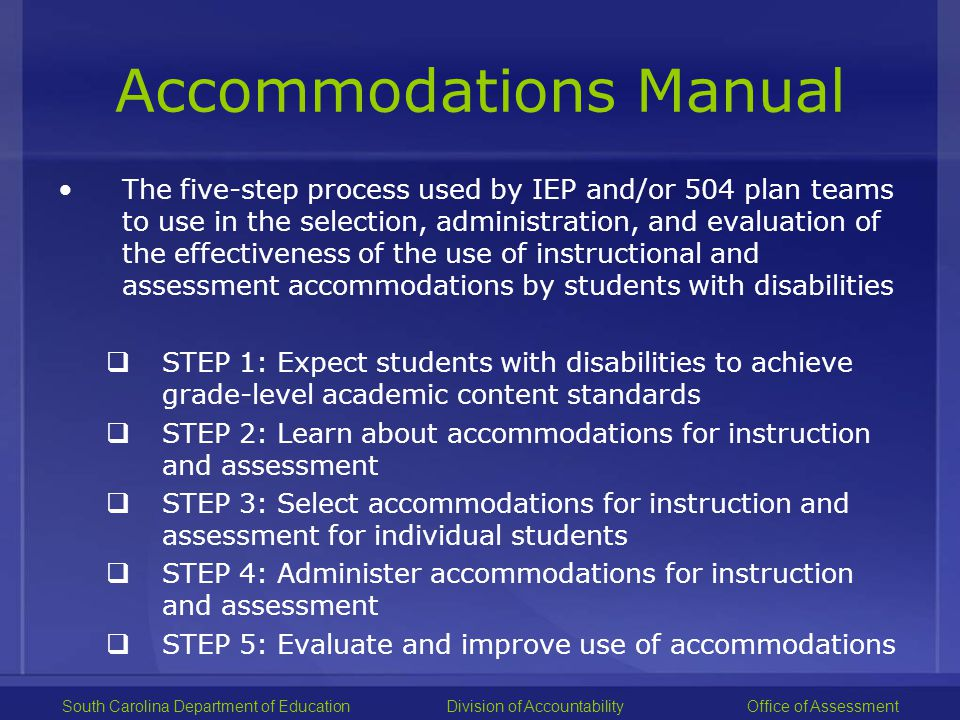 Standard and Non-standard Accommodations Examples of non-standard accommodations include: –Requiring a student to learn less material –Reducing assignment and assessments –Revising assignments and assessments to make them easier –Giving student hints or clues to correct responses South Carolina Department of EducationDivision of Accountability Office of Assessment