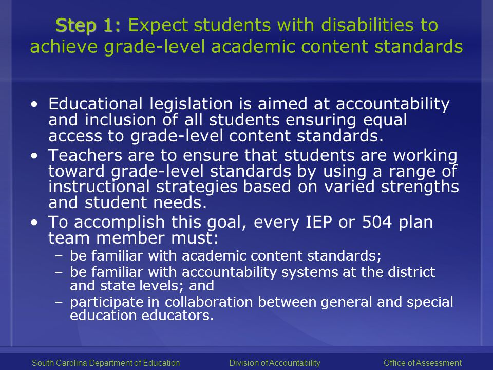 Step 2: Step 2: Learn about accommodations for instruction and assessment What are accommodations.