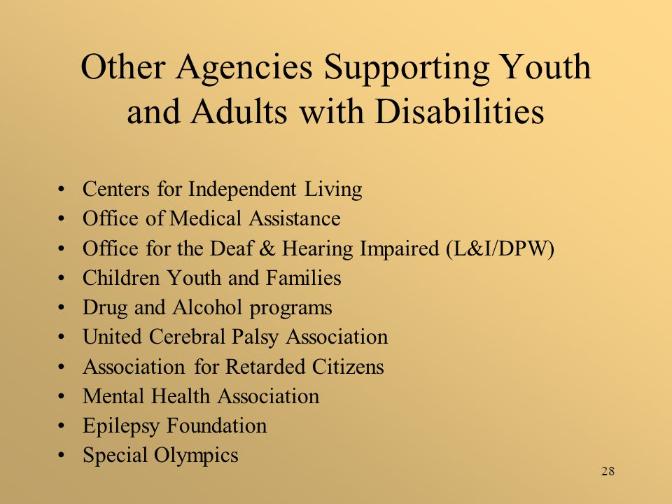 28 Other Agencies Supporting Youth and Adults with Disabilities Centers for Independent Living Office of Medical Assistance Office for the Deaf & Hearing Impaired (L&I/DPW) Children Youth and Families Drug and Alcohol programs United Cerebral Palsy Association Association for Retarded Citizens Mental Health Association Epilepsy Foundation Special Olympics