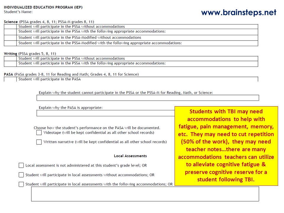Students with TBI may need accommodations to help with fatigue, pain management, memory, etc. They may need to cut repetition (50% of the work), they