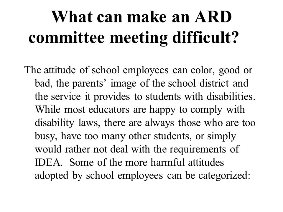 What can make an ARD committee meeting difficult.