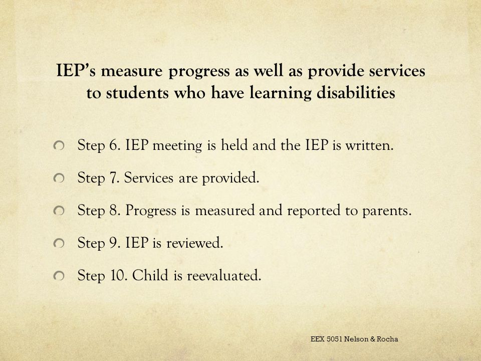 IEP's measure progress as well as provide services to students who have learning disabilities Step 6.