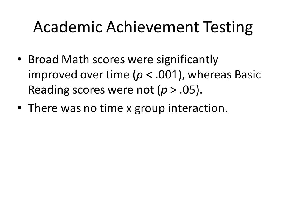 Academic Achievement Testing Broad Math scores were significantly improved over time (p.05).