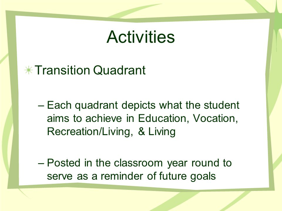 Activities Transition Quadrant –Each quadrant depicts what the student aims to achieve in Education, Vocation, Recreation/Living, & Living –Posted in the classroom year round to serve as a reminder of future goals