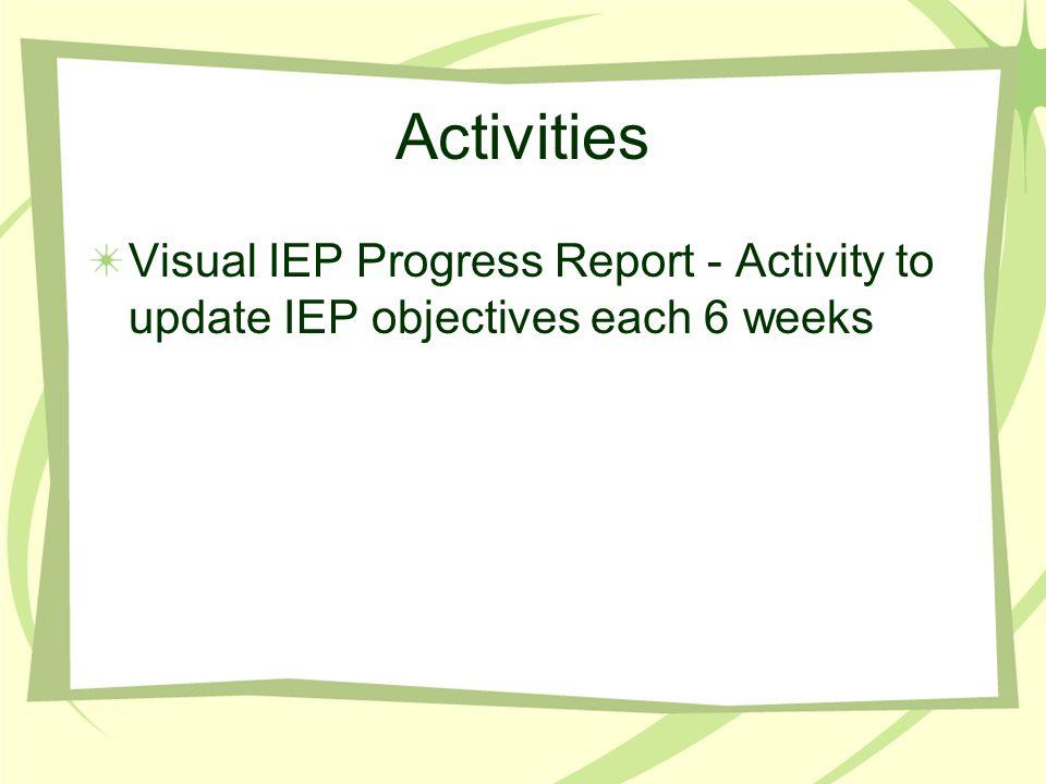 Activities Visual IEP Progress Report - Activity to update IEP objectives each 6 weeks