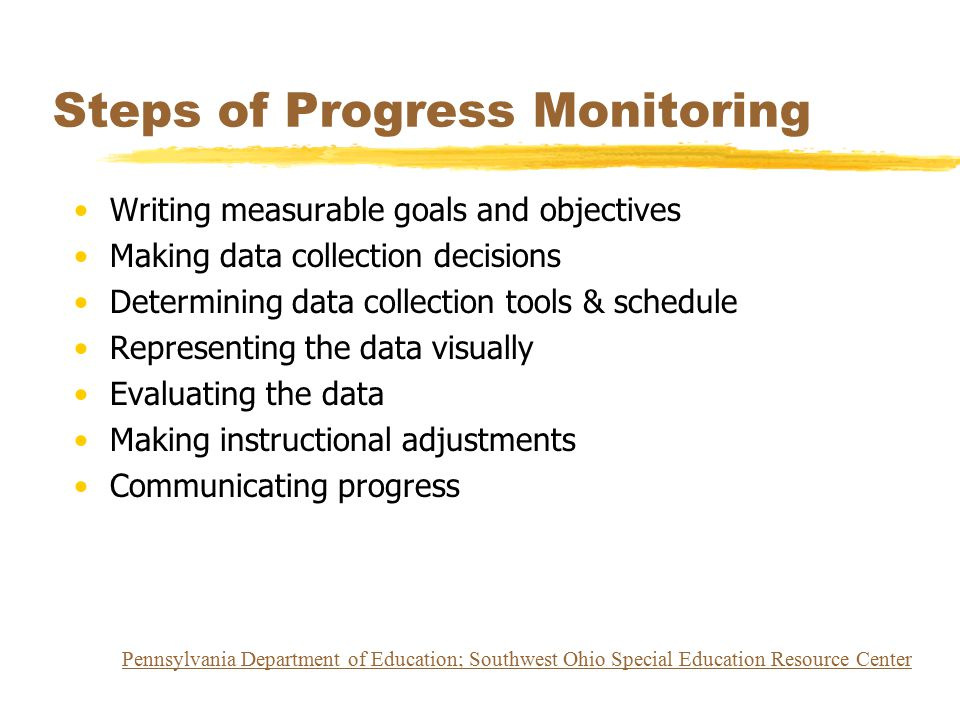 Steps of Progress Monitoring Writing measurable goals and objectives Making data collection decisions Determining data collection tools & schedule Rep