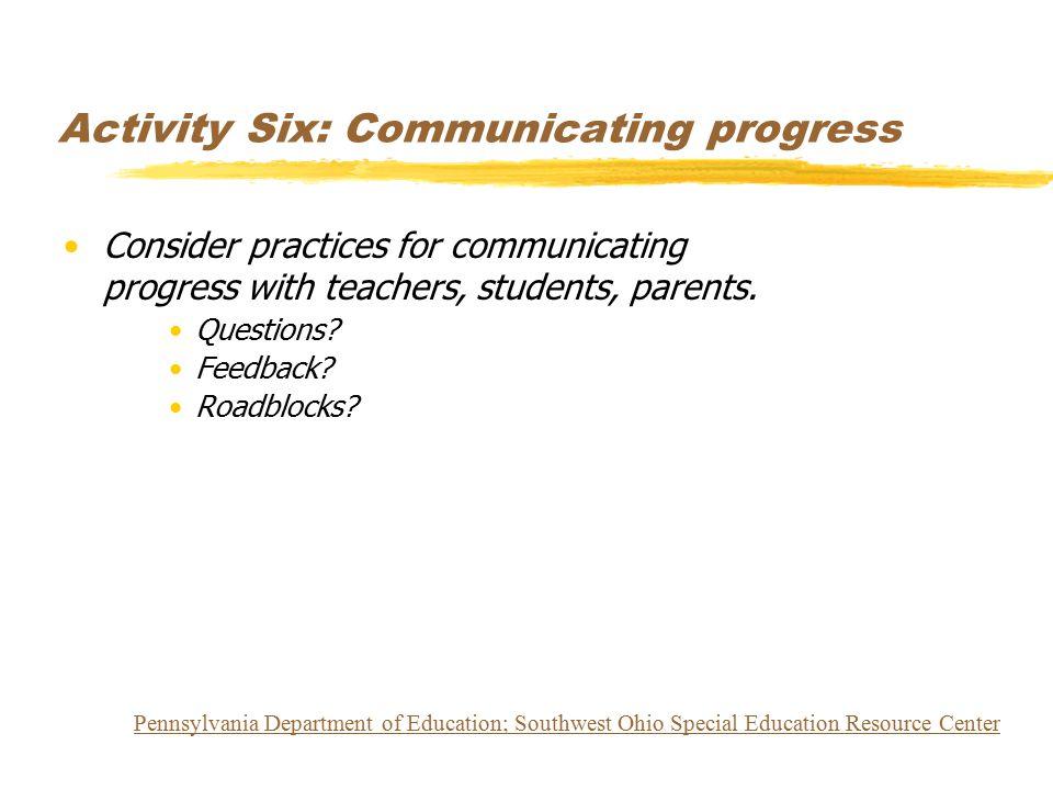 Activity Six: Communicating progress Consider practices for communicating progress with teachers, students, parents. Questions? Feedback? Roadblocks?