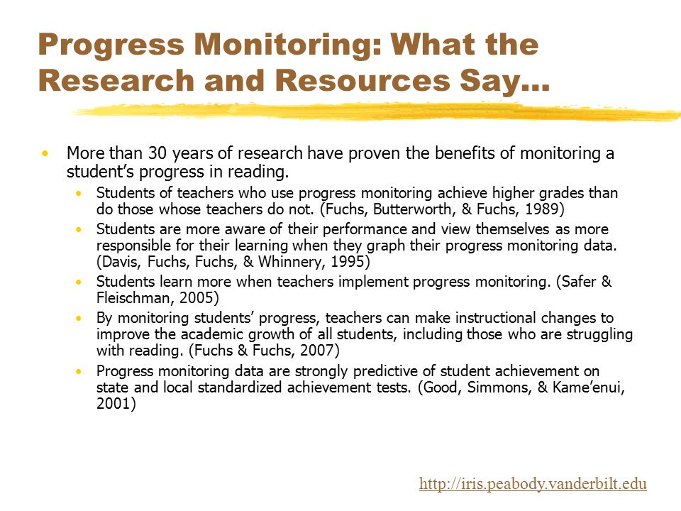 Progress Monitoring: What the Research and Resources Say… More than 30 years of research have proven the benefits of monitoring a student's progress i