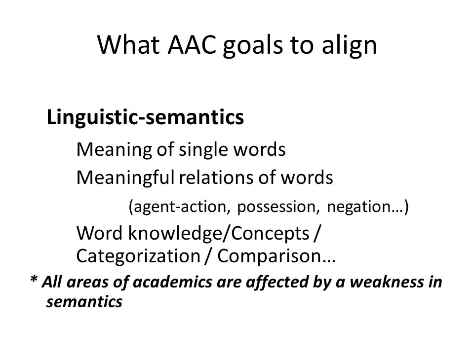 What AAC goals to align Linguistics/Morphology – Smallest elements of meaning (plural, tense markers, comparatives…) Linguistics/Syntax – Parts of speech, word order, and sentence construction *Grammar errors in written language *Difficulty comprehending complex sentences in written language
