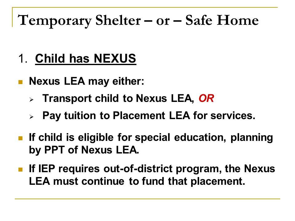 Temporary Shelter – or – Safe Home 1.