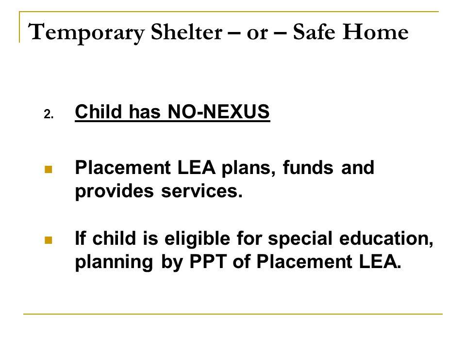 Temporary Shelter – or – Safe Home 2.